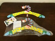 Sevi Italy Wooden Clown Clothes Hanger Kids 1992 Lot Of 2 New With Tags
