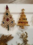 Estate Vintage Now Christmas Themed Jewelry Lot Brooch Earrings Pendant 20 Pcs