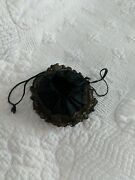 Antique Black Silk Mourning Bag With Mirror On Bottom With Gold Metallic Lace