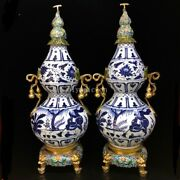 Pair 31and039and039 China Blue And White Porcelain Gold Enamel Home Decor Gourd Jar Vase