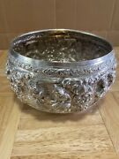 Lovely Asian Vintage Sterling Silver Repousse Large Bowl Vessel Thailand Siam