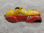 Vintage Sun Rubber Co Red White Rubbercast Toy Car 1930s