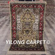 Yilong 2.5and039x4and039 Handknotted Golden Silk Area Rug Antique Family Room Carpet L137a