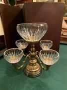 Four Arm Brass Base Epergne With Glass Liners Marble Base
