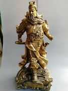 38and039and039 Fine Brass Folk Fengshui Carved Dragon Design Guan Gong On Dragon Statue