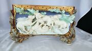 Vintage European Pottery Fighting Dogs Compote