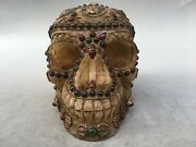 11and039and039 Tibet 100 White Crystal Quartz Silver Gold Gem Carved Skull Head Statue