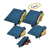 Reusable Sandwich Bags Snack Bags - Set Of 5 Pack Dishwasher Safe Lunch Bags...