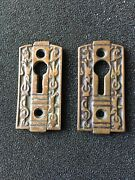 Antique Pair Of Fancy Victorian Eastlake Brass Keyhole Covers
