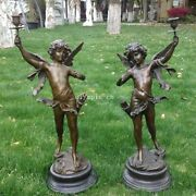 Pair 29and039and039 Ancient Greek Bronze Art Sculpture Boys Child Cupid Candlestick Statue