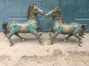 Pair 18and039and039 Red Copper Cloisonne Enamel Flower Design Beast Animal Horse Statue