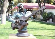 24and039and039bronze Art Sculpture Famous Rock Music Elvis Presley Play Bass Guitar Statue