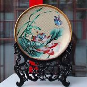 20and039and039pure Copper Gold Cloisonne Enamel Handcraft Painting Lotus Butterfly Plate