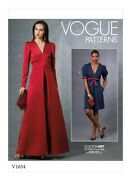Vogue V1654 6-14 Ladies V Neck Empire Waist Pleat Front Dress And Gown Sewing Pat