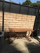 Wrought Console Table Vintage Indoor /outdoor Hand Made With Copper Penny Top