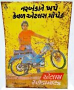 Vintage Scooter Moped Advertise Tin Sign Atlas Speedomatic Dx Rare Collectible9