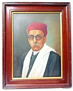 Vintage Portrait Painting Oil On Canvas Hand Painted Indian Turban Collectibles