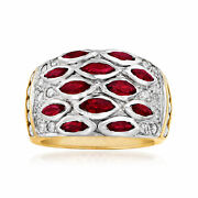 Vintage Ruby And Diamond Ring In 14kt Two-tone Gold Size 6.5