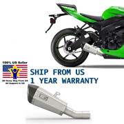 Us-stock Slip On Exhaust Muffler Mid Pipes For Kawasaki Zx6r Zx636 2009-2012 K23