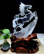 12and039and039 Natural 100 White Rock Crystal Quartz Treasure Wealth Animal Horse Statue