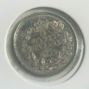 1906 Canada 5 Cents - Small Silver - Very Nice Under Toning