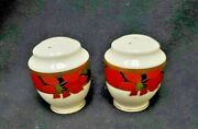 Mikasa China Christmas Eve L3467 Pattern Salt And Pepper Shaker Set Pointsettia