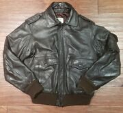 Vintage American Express Brown Men Leather Flight Jacket 38 Size Small