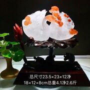 9 Inch Natural Quartz White Crystal Pretty Red Color Crystal Pair Swan Statue