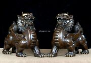 Pair 17and039and039 Bronze Red Copper Treasure Good Fortune Auspicious Beast Dragon Kylin