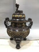 16and039and039 Pure Rec Copper Bronze Real Gold Carved Flower Foo Dog Lion Dragon Censer