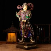 24and039and039 Pure Bronze Mineral Pigment Home Fengshui Guard Safety Wei Tuo Bodhisattva