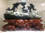 11and039and039 Natural Dushan Jade Furniture Decoration Statue Likable Dolphinplay Ball