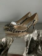 Jimmy Choo Romy 60 Shoes 39 Gold Glitter Floral Embroidery Sequin Heels Pumps