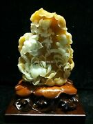 14and039and039 Natural Xiuyan Jade Hand-carved Home Furniture Display Lotus Birds Statue