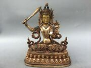 12and039and039 Tibet Bronze Gold Silver Gold Inlay Green Red Gem Hold Sword Avalokitesvara