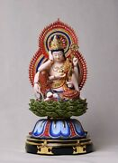 14and039and039 Linden Basswood Colored 24k Gold Foil Six Arm Guanyin Avalokitesvara Statue