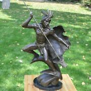 27'' Bronze Sculpture Home Decorate A Indian Hunting Man Statue
