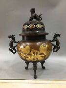 16and039and039 Pure Bronze Red Copper 24k Gold Auspicious Beast Dragon Foo Dog Lion Censer