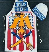 Le Goullon Art Hail To The Chef Cook Apron Kitchen Bbq Grill Fun Vtg Hat Costume