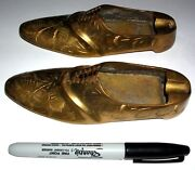 Rare Design - Vintage Brass Etched Ashtray Pair Of Shoes Shoe