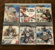 Ps3 Lot Of 6- Mlb The Show 11, 12, 13 And Madden Nfl 12, 13, And 25- Free Shipping