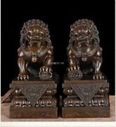 Pair 17and039and039 Bronze Red Copper Home Fengshui Exorcise Evil Spirits Fu Foo Dog Lion