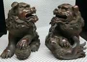 Pair 12'' Old Bronze Gold Carved Auspicious Beast Foo Dogs Lion Censer Statue