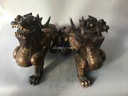 Pair 22and039and039 Bronze Gild Carved Home Fengshui Auspicious Beast Dragon Kylin Unicorn