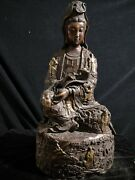 23and039and039 Bronze Red Copper Gold Carved Eight Immortals Design Ruyi Guanyin Buddha