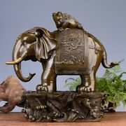 16and039and039 Bronze Carved Home Fengshui Treasure Beast Dragon Elephant Jin Chan Statue