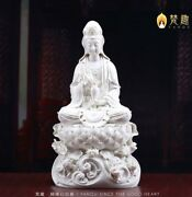 20and039and039 Collection Art White Porcelain Home Fengshui Blessing Lotus Guanyin Buddha