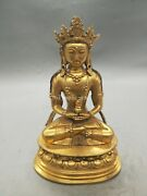 14and039and039 Pure Red Copper Gold Gilding Carvings Buddhism Amitayus Buddha Statue