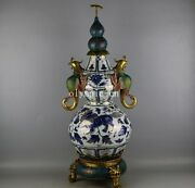 29and039and039 Chinese Blue And White Porcelain Bronze Cloisonne Phoenix Lion Gourd Vase