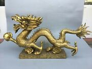35and039and039 Brass Copper Furniture Decorate Animal Treasure Imperial Dragon Statue